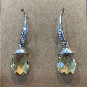 Avon sterling silver RJ drop dangle crystal